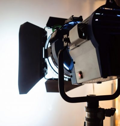 Working led lightning system view from the back with white background on a movie set